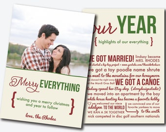 Custom Christmas Card - Merry Everything / Our Year - Printable Digital Download