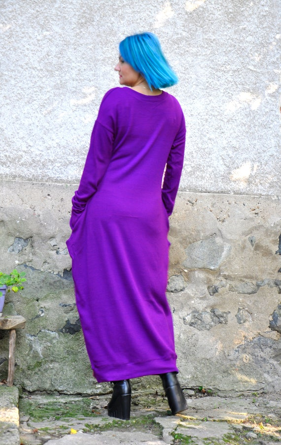 Maxi Woman winter Plus size dress tunic dress wool caftan cashmere Maxi tunic D0376 long Maxi dress tunic dress tunic size Purple Wool plus ZxaFnq