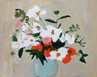 original flower painting orange and white flowers in vase floral bouquet