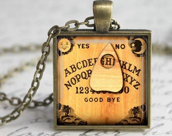 Ouija Custom Letter Monogram Pendant, Necklace or Key Chain - Choice of 4 Colors - Occult, Halloween, Ouija Board, Personalized