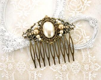 Victorian Hair Comb - Swarovski Pearls and Ivory Cabochon - Rustic Wedding Antique Brass Filigree Renaissance Vintage Wedding Bonze Comb