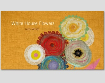 100 business cards  - Your information - Whimsical Flowers Business Cards
