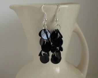Shiny Black Shell Dangle Earrings