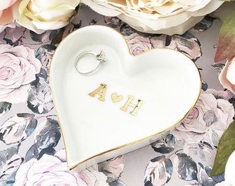 Initials Ring Dish Couples Initial Jewelry Dish Engagement Gifts for Couple Engagement Ring Dish Engagement Gifts for Bride (EB3233HM)
