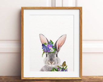 Bunny Rabbit Print, Rabbit With Flowers, Butterfly, Floral Baby Animals, Woodland Nursery Decor, Girls Nursery Art, Kids Room Printable Art