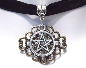 Pentagram and Filigree pendant on black velvet choker necklace 2K