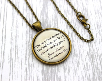 Jane Austen, 'My Heart Was Irrevocably Gone', Love and Friendship Quote Necklace or Keychain, Keyring.