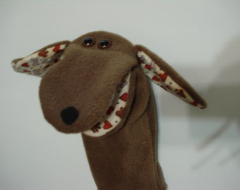 Brown Dog with moveable mouth print ears hearts paws and bones hand puppet