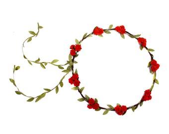 Red Rose Flower Crown, Festival Flower Crown, Floral Headband, Woodland Floral Hair Wreath, Bridal Halo Flower Crown, Rose Flower Headband