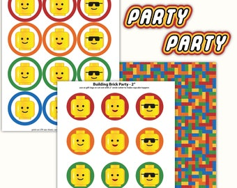Building Brick Party - Cupcake Toppers - Printable PDF, Instant Downloadf