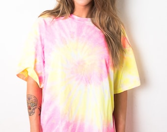 Pink Yellow Swirl Spiral Tie Dye T-Shirt Ladies [24] - LIMITED STOCK - Exclusive - Great Quality Festival Music