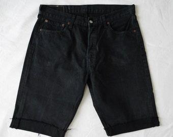 Mens vintage Levis 501 shorts, black denim jean, cut off frayed long shorts, waist 34, medium large