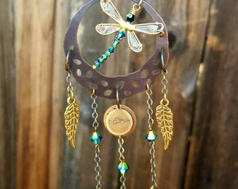 Dragonfly Dream Catcher, Dragonfly Ornament, Car Charm, Dragonfly, Dragonfly Home Decor, Dragonfly Garden Decor, Boho Decor,