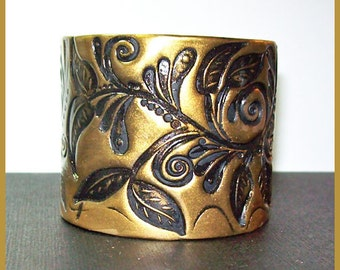 Cuff Bracelet Polymer Clay Gold on Black Floral Design 2 in.  wide  Magnetic Clasp