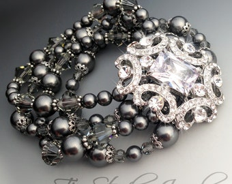 Dark Grey Gray Pearl and Crystal Bridal Bracelet Multi Strand Wedding Cuff with Rhinestone Crystal Brooch - ASHLEY