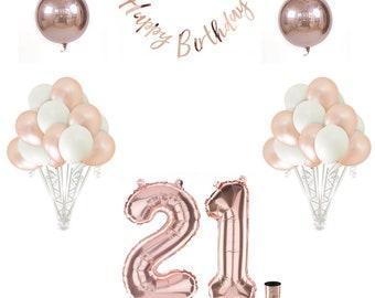 21st Birthday Balloon Decoration Set - Rose Gold | 21st Birthday Decorations | Rose Gold Birthday Party Theme | Happy Birthday Decorations
