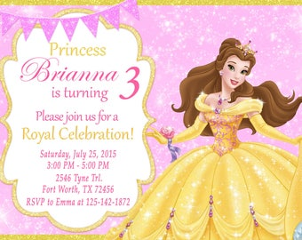 Princess belle printable birthday party invitation princess belle invitation princess belle birthday princess belle party filmwisefo Images