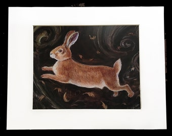 Original Matted Art Print, Leaping Rabbit, Blowing Leaves, Autumn 8X10