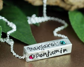 Mother's Necklace, 4 Sided Bar Necklace, Hand Stamped Necklace, Gift for Mom, Mothers Day Gift, Birthstone Necklace, Personalized Bar