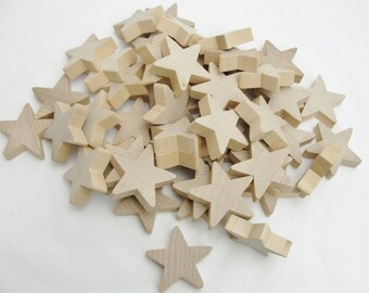 "50 Traditional 2 inch star wood 1/2"" thick chunky unfinished DIY"