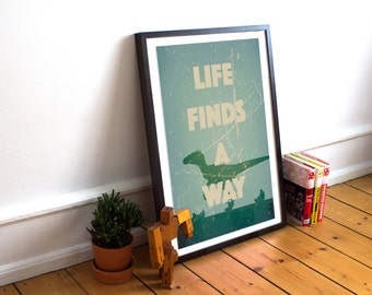 Jurassic Park Poster - Life Finds A Way - Ian Malcolm - Velociraptor Minimalist Style Print - (Available In Many Sizes)