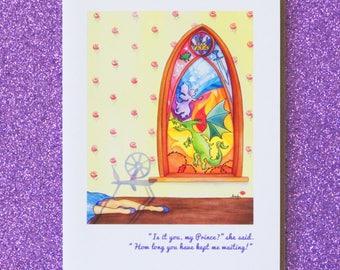 SLEEPING BEAUTY faerie tale feet blank greeting card disney princess birthday stationary note card fairy tale briar rose aurora dragon
