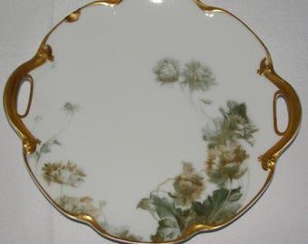 RARE Feu De Four Haviland Limoges Porcelain Charger Plate with Gold Handles 11 Inches