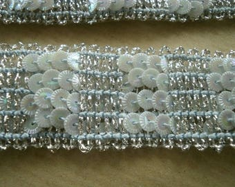 Silver polyester Ribbon with embroidered sequins, width 27 mm
