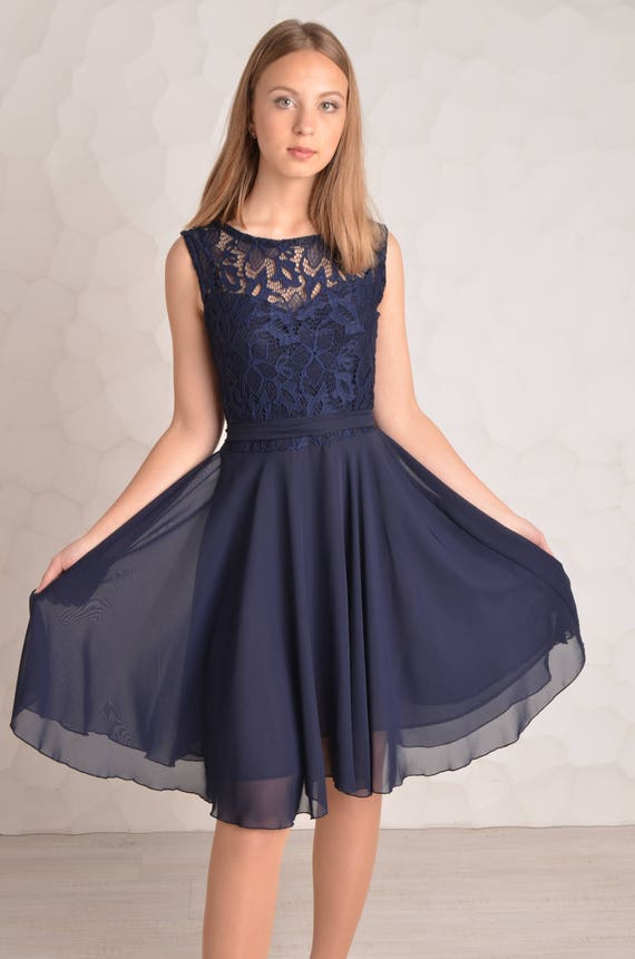 Well-known Bridesmaid dress Navy blue Cocktail dress Bridesmaid dresses YD01