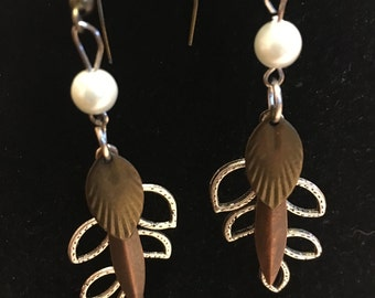 Handmade, Mixed Metal Dangle Earrings