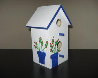 EASTER BIRDHOUSE - Hand Painted - Decorative White/Blue - Yard & Patio Decoration
