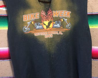 Daytona Florida Bike Week Raw Edged Distressed Sleeveless