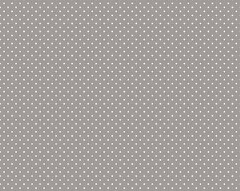 Gray Polka Dot Fabric - Riley Blake Swiss Dots - Gray and White Polka Dot Fabric By The 1/2 Yard