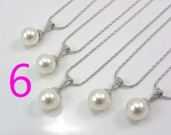 6 Bridesmaid necklaces, Set of 6 bridesmaid necklaces, 6 pearl necklaces, Swarovski Pearl Wedding Jewelry, Bridesmaid Gift, bridal jewelry
