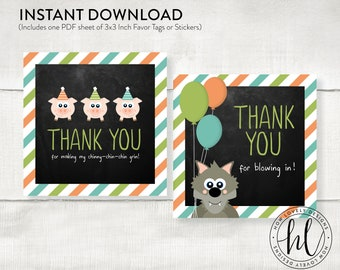 Three Little Pigs Birthday Favor Tags or Stickers | Pig Birthday Favor Tag | Three Little Pigs Birthday | Pig Party Thank You Favors