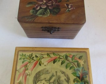 2 antique/vintage French gorgeous little small wooden boxes. ? Olive wood