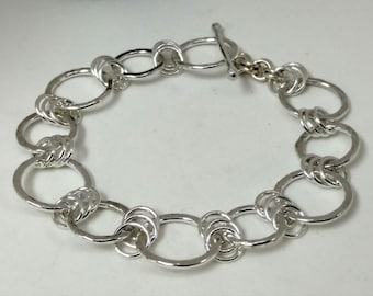 Sterlling Silver Hammered Links Bracelet