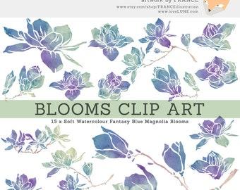 3 FOR 2. Magnolia Flower Clip Art in Fantasy Blue. Watercolor Floral Clipart. Wedding Craft Scrapbook. Branches, Petals, Purple. Silhouette.