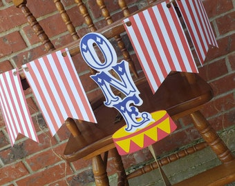 Circus carnival first birthday highchair banner