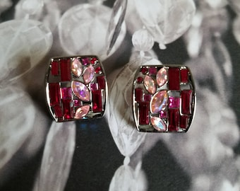 Givenchy crystal earrings, red and pink crystal rhinestones, pierced.