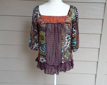 Sheer Print Boho Blouse