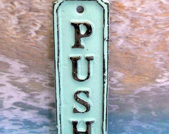 Push Cast Iron Sign Plaque Beach Blue Wall Decor Sign Shabby Elegance Cottage Chic Door Handle Entrance Home Office Instruction Plaque