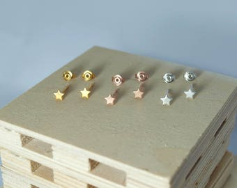 Gold Star Stud Earrings Silver Rose Gold Vermeil Tiny Stars Sterling Silver 925 Pink Women Girls Gift Black Star Jewelry Handmade Jewellery
