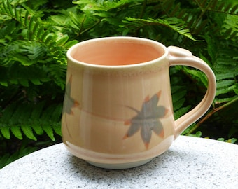Peach porcelain mug