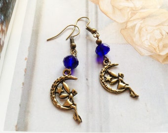 FREE SHIPPING! Sweet moon fairy earrings with blue Swarovski crystal pearls, antique style brass, vintage inspired jewelry, Selma Dreams