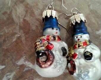 B#292  Christmas Snowman handmade earrings