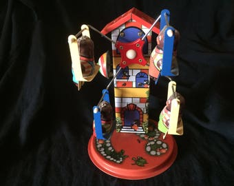Vintage Tin Toy, Wind Up Toy, Swinging and Turning Seats, with Little Bears as Passengers and Sound - 1970