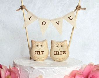 Wedding cake topper... mr mrs Love bird owls and LOVE banner included...package deal