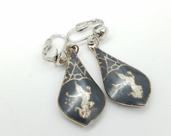 Vintage Siam Sterling Silver and Black Enamel Dangle Clip on Earrings