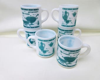 Vintage Turquoise Mugs | Milk Glass Mug Set | Hazel Atlas Mugs | Stackable Mugs | Utensil Pattern | Set of 6